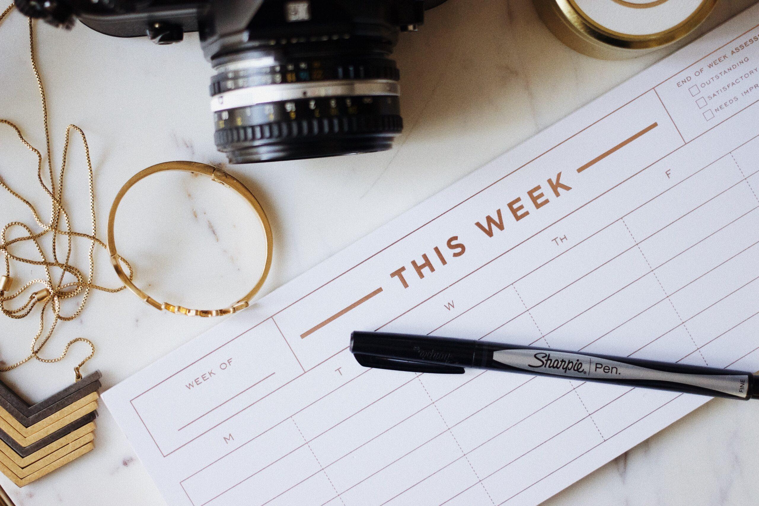 Kamera, kalender och smycken