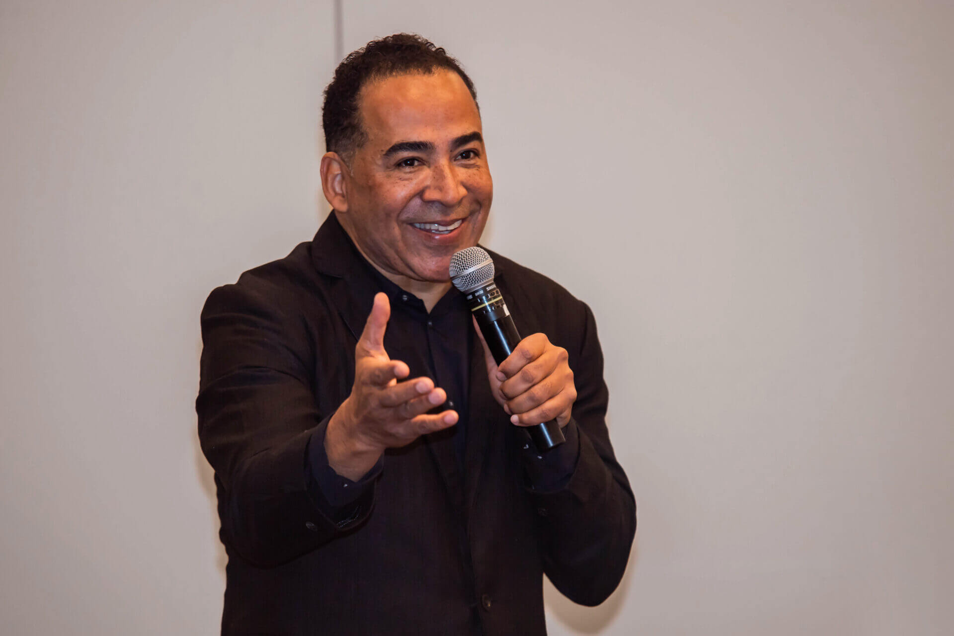 Tim Storey talking into a microphone