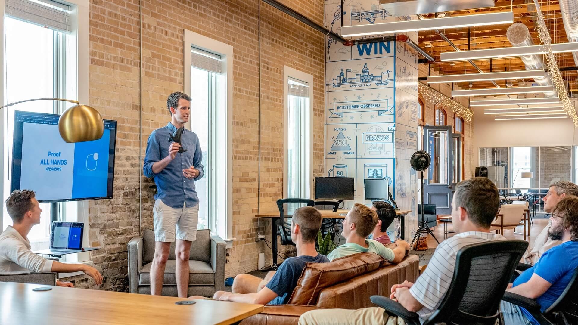 man giving a business development presentation
